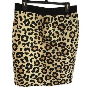 Ann Taylor Leopard Print Pencil Skirt Size 10